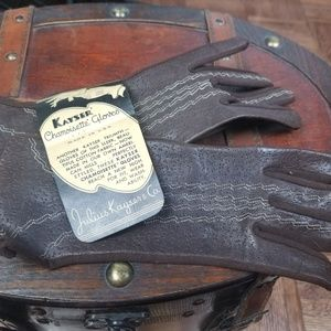 NWT vintage/antique deadstock brown leather gloves